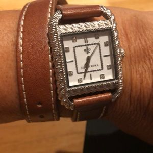 Judith Ripka Sterling and Leather Wrap watch
